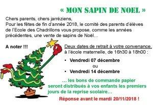 Affiche annonce commande Sapins 2018